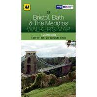 AA Publishing Wandelkaart 25 Bristol, Bath & Mendips