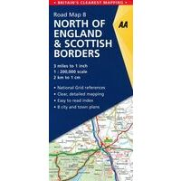 AA Publishing Wegenkaart 8 Engeland Noord & Scottish Borders