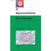 Alpenvereinskarte Topografische Kaart 26 Silvrettagruppe Weg + Ski