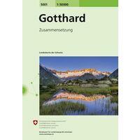 Bundesamt - Swisstopo Topografische Kaart 5001 Gotthard