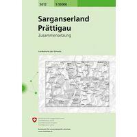 Bundesamt - Swisstopo Topografische Kaart 5012 Sarganserland - Prättigau