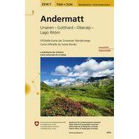Bundesamt - Swisstopo Topografische Wandelkaart 3314T Andermatt