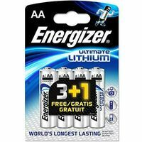 Energizer Llithium AA Batterij LR6  3+1 Stuks