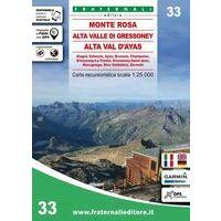 Fraternali Editore Wandelkaart 33 Monte Rosa - Alta Valle Di Gressoney
