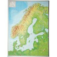 Georelief Maps Reliëf Scandinavië Groot Met Aluminium Lijst