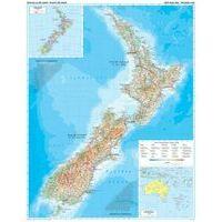 Gizi Map Wandkaart Nieuw-Zeeland Geografisch
