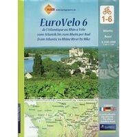 Huber Verlag Fietskaart Set EuroVelo6 Atlantische Oceaan - Basel