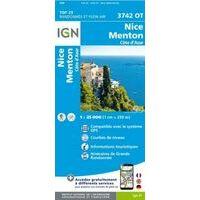 IGN Wandelkaart 3742ot Nice - Menton