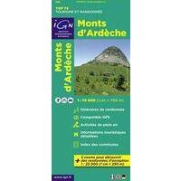 IGN Wandel- En Fietskaart Monts D'Ardèche