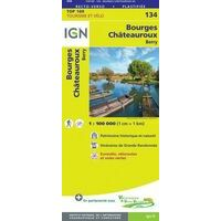 IGN Fietskaart 134 Bourges - Châteauroux Cher Indre