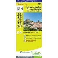 IGN Fietskaart 156 Le Puy-en-Velay Privas Mende