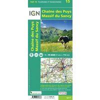 IGN Wandel- En Fietskaart Chaine Des Puys & Massif Du Sancy 1:75.000