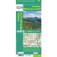 IGN Wandel- En Fietskaart Cézallier & Monts Du Cantal 1:75.000