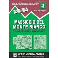 Istituto Geografico Centrale Wandelkaart 4 Monte Bianco / Mont Blanc 1:50.000