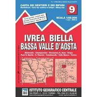 Istituto Geografico Centrale Wandelkaart 9 Ivrea Biella E Valle D'Aosta