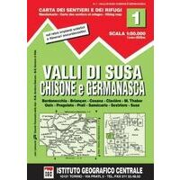 Istituto Geografico Centrale Wandelkaart 1 Valli Di Susa 1:50.000