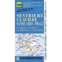 Istituto Geografico Centrale Wandelkaart 105 Sestrière 1:25.000