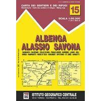 Istituto Geografico Centrale Wandelkaart 15 Albenga 1:50.000