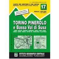 Istituto Geografico Centrale Wandelkaart 17 Torino Pinerolo 1:50.000