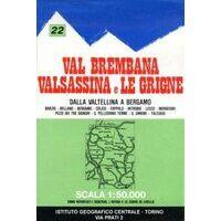 Istituto Geografico Centrale Wandelkaart 22 Val Brembana 1:50.000
