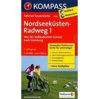 Kompass Fietskaart 7049 Nordseeküstenradweg Deel 1 Nederlandse Grens - Hamburg