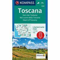 Kompass Wandelkaarten 2440 Toscane Vier Kaarten
