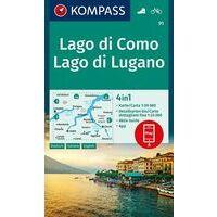 Kompass Wandelkaart 91 Lago Di Como - Lago Di Lugano
