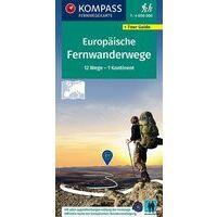 Kompass Overzichtskaart 2562 Fernwanderwege Europa