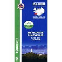 Mal Og Menning Wandelkaart 1: Reykjanes - Pingvellir