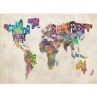 Mapstudio Wandkaart World Text Art Silk