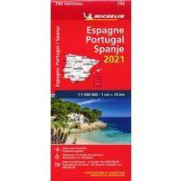 Michelin Wegenkaart 734 Spanje - Portugal 2021