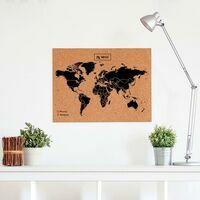 Miss Wood Woody Map Wereldkaart Kurk Large Black 60 X 45 Cm
