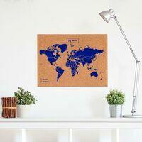 Miss Wood Woody Map Wereldkaart Kurk Large Blue 60 X 45 Cm