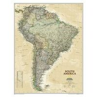 National Geographic Wandkaart South America Antique