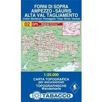 Tabacco Topografische Wandelkaart 02 Forni Di Sopra 1:25.000