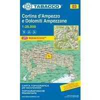 Tabacco Topografische Wandelkaart 03 Cortina D'Ampezzo 1:25.000