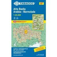 Tabacco Topografische Wandelkaart 07 Alta Badia Arabba Marmolada 1:25.000