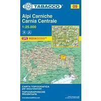 Tabacco Topografische Wandelkaart 09 Alpi Carniche 1:25.000