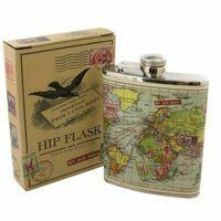 Wild & Wolf Hip Flask Map Drankflesje Zakflacon Platvink